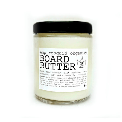 Organic Board Butter. Mineral oil free cutting board oil and cutting board conditioner.