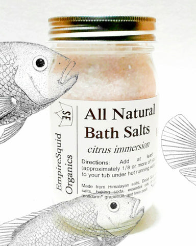 Aromatherapy Bath Salts in Glass Jar - EmpireSquid Organics