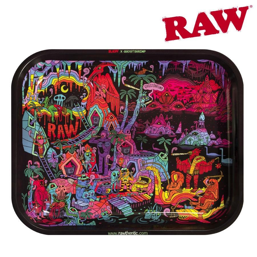 Raw Ghost Shrimp Rolling Tray Tin- Large v2 - Blunt & Cherry