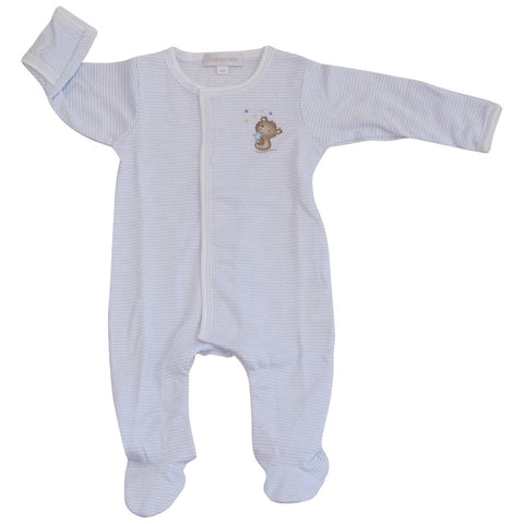 Magnolia Baby Blue Stripe Teddy Footie