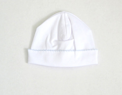 Kissy Kissy Pima Cotton Hat White/Light Blue