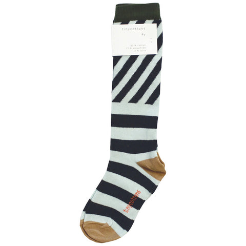 Tiny Cottons Navy Stripes High Socks