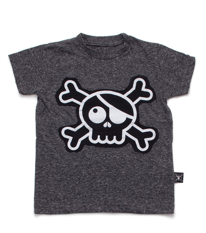 NUNUNU Charcoal Skull Patch Tee