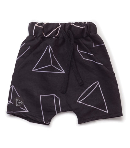 NUNUNU Black Geometric Baggy Surf Shorts