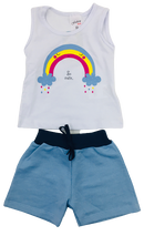 Conjunto Feminino Regata Arco Íris So Cute Fashion Kids