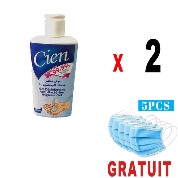 2 Gel Désinfectant 150ml +5 masque medical GRATUIT