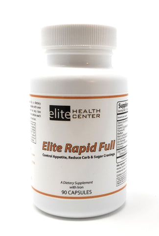 Elite Health Center Rapid Full - Controls Appetite, Reduces Carb & Sugar Cravings - Weight Loss Supplement - 90 Capsules