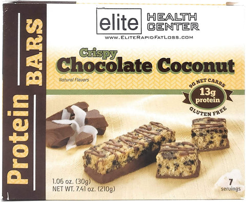 Elite Health Center, Crispy Chocolate Coconut Protein Bar, Low Carb, Low Sugar, 13g Protein, 1.06 Ounce (Pack of 7)