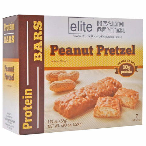 Peanut Pretzel Protein Bar, Low Carb, Low Sugar, HCG Friendly, 10g Protein, 1.13oz, (Pack of 7)