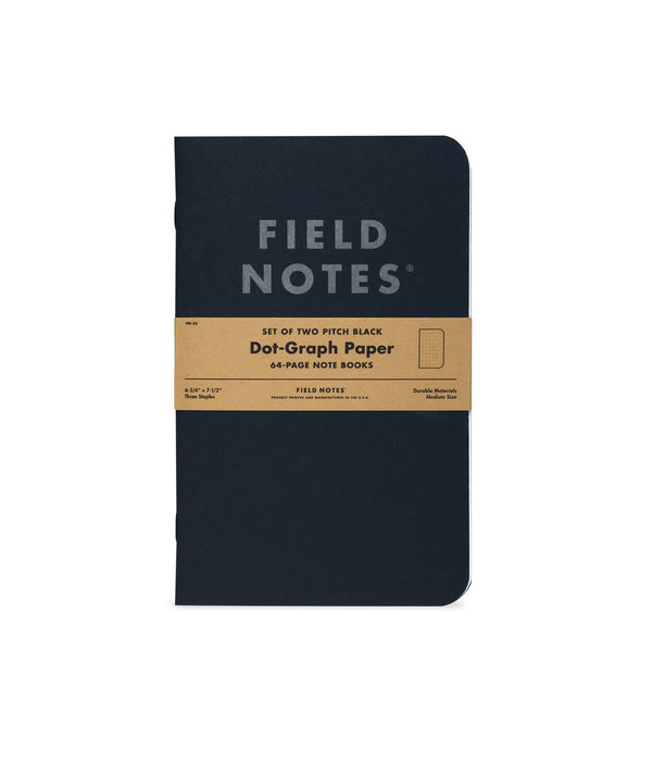 Field Notes Set of Two Pitch Black Dot-Graph Paper