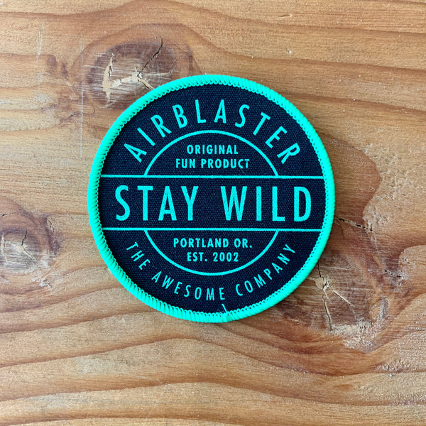 Air Blaster Stay Wild Sew On Patch - Black/Green