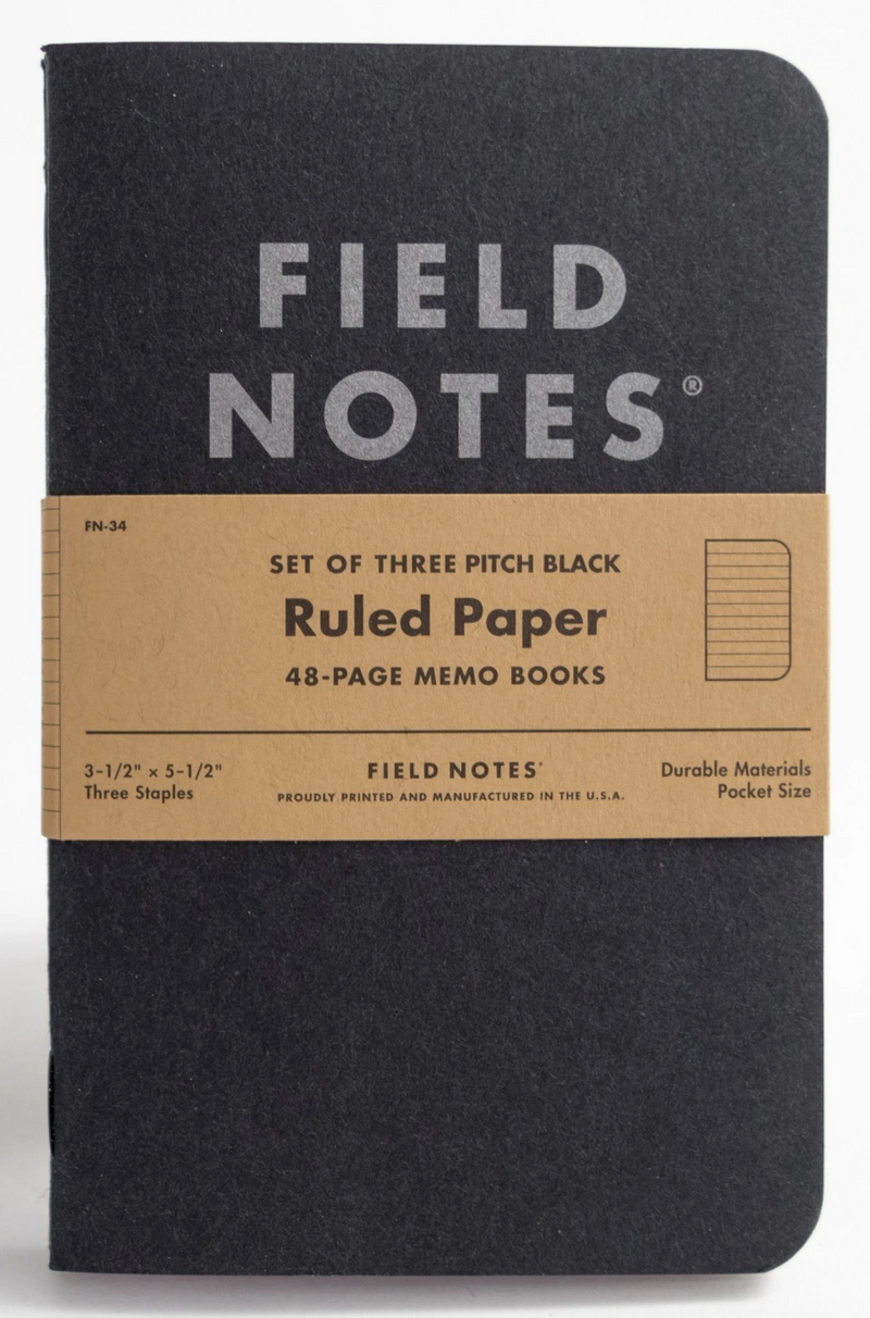 Field Notes Pitch Black Ruled Paper 3-Pack