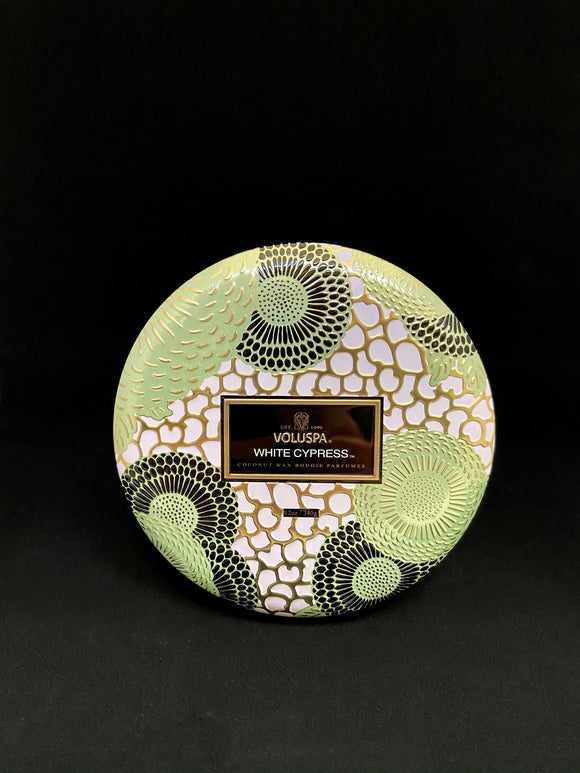 Voluspa - WHITE CYPRESS SEASONAL 3 WICK TIN CANDLE