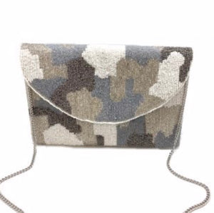 """Grey Camo"" Beaded Clutch"