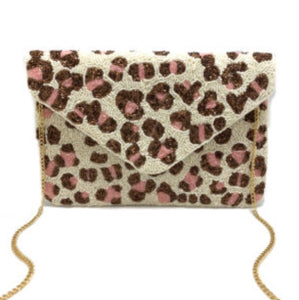 """Pretty Leopard"" Beaded Clutch"