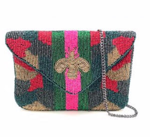 """Camo Bee"" Mini Beaded Clutch"
