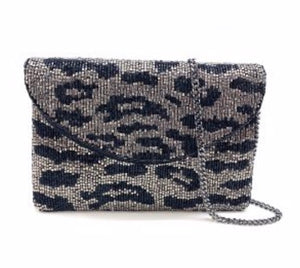 """Silver and Black Animal Print"" Mini Beaded Clutch"