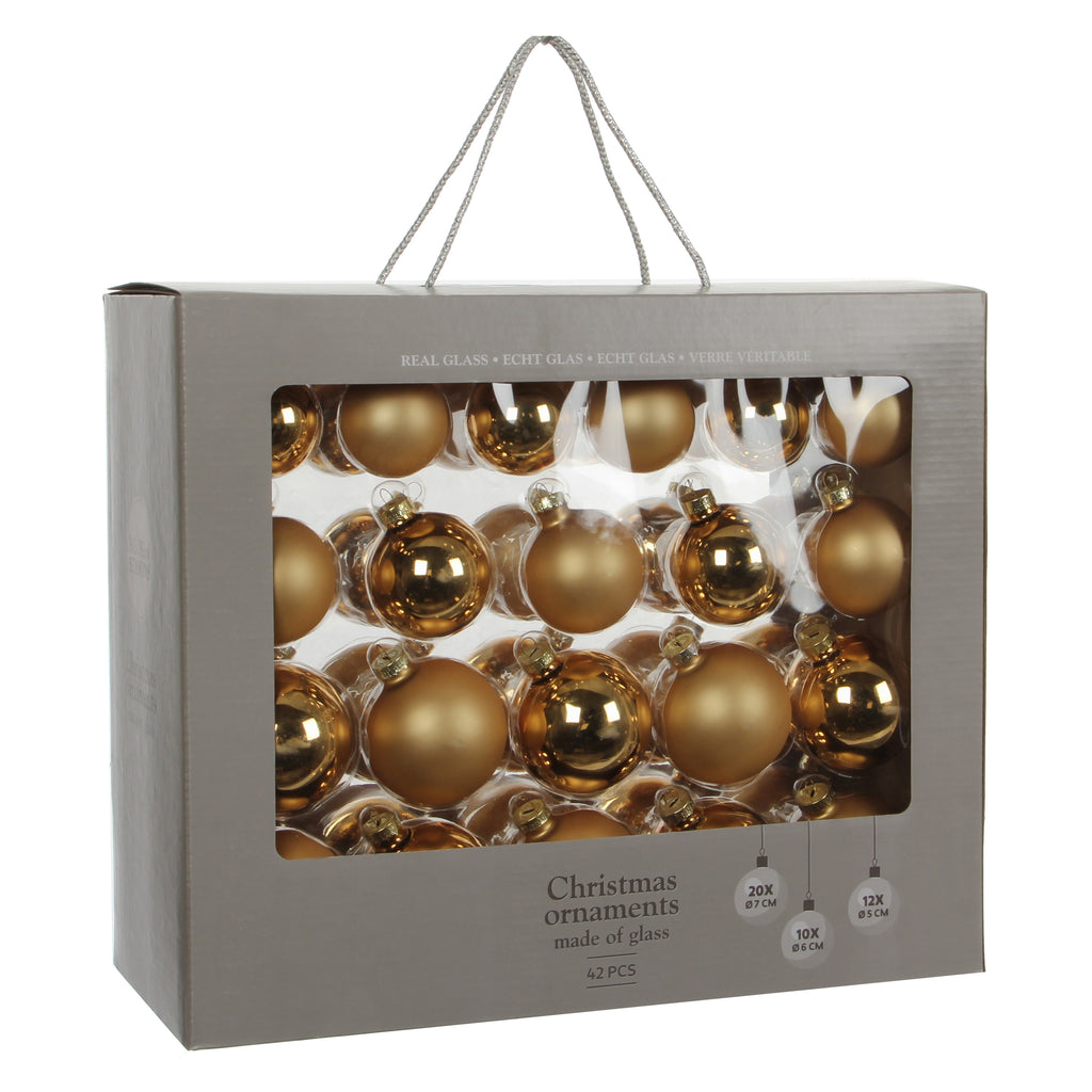 Bauble Glass Gold 42 pieces