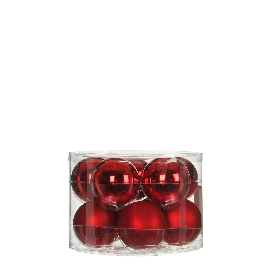 Bauble Glass Red 10 pieces