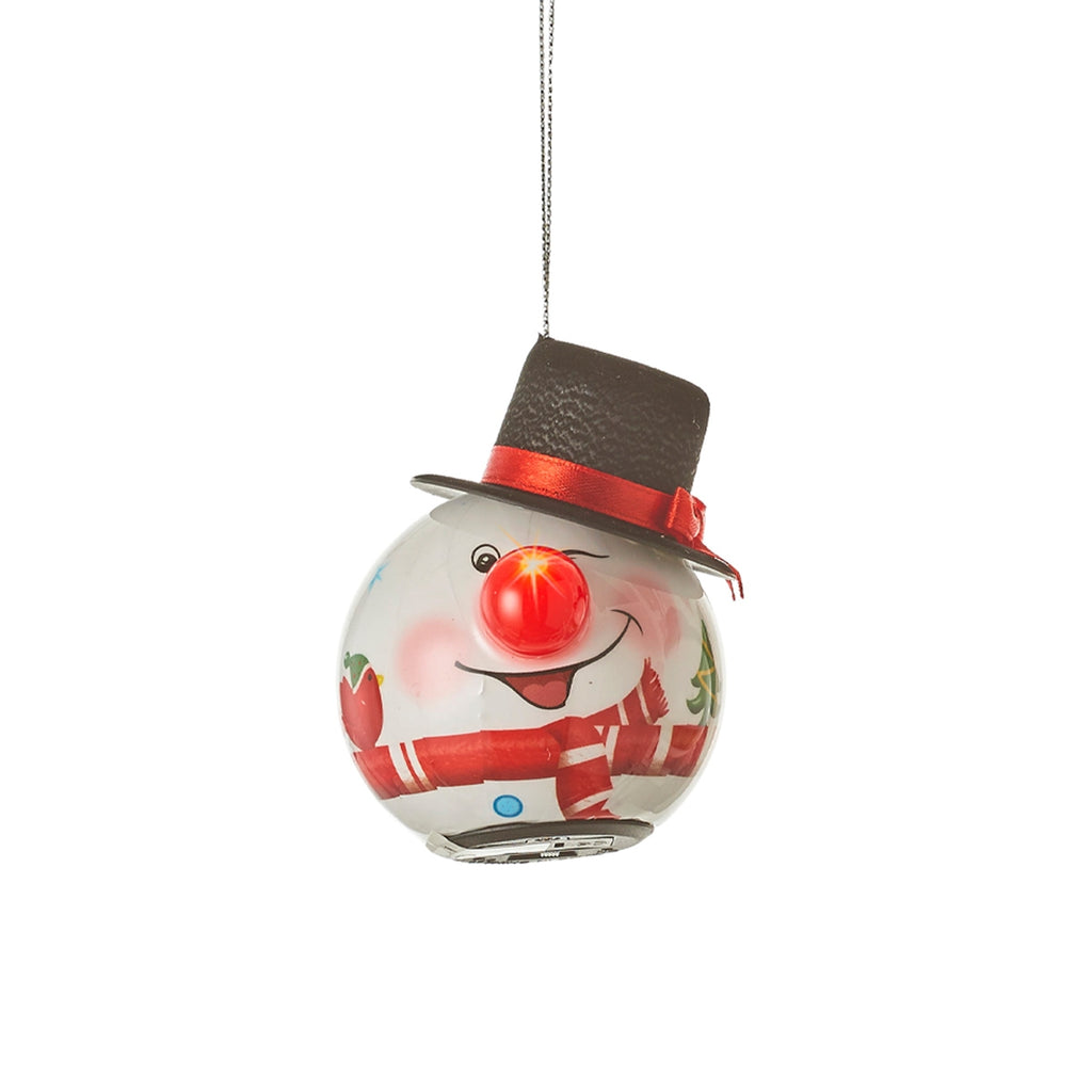 Snowman Ornamental Bauble, Battery Operated Red Scarf