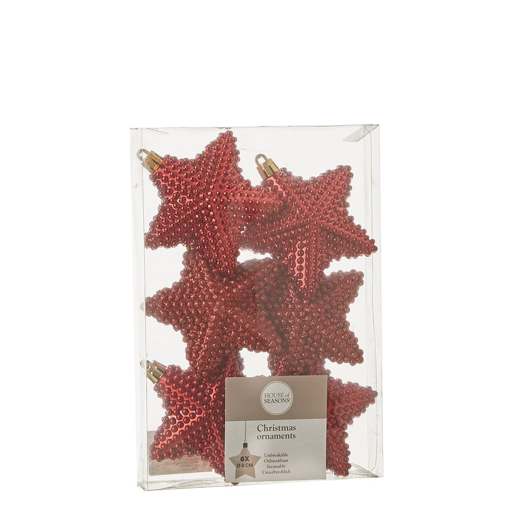 Ornament star unbreakable red 6 pieces