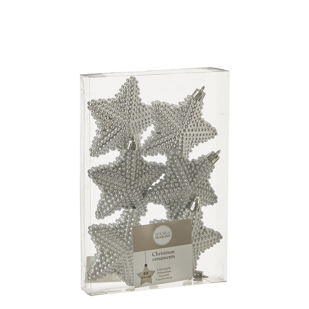 Ornament star unbreakable silver 6 pieces