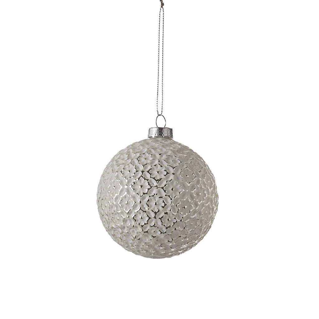 Ornament Ball Silver Flower pattern