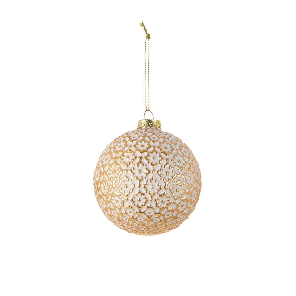 Ornament Ball Gold Flower Pattern