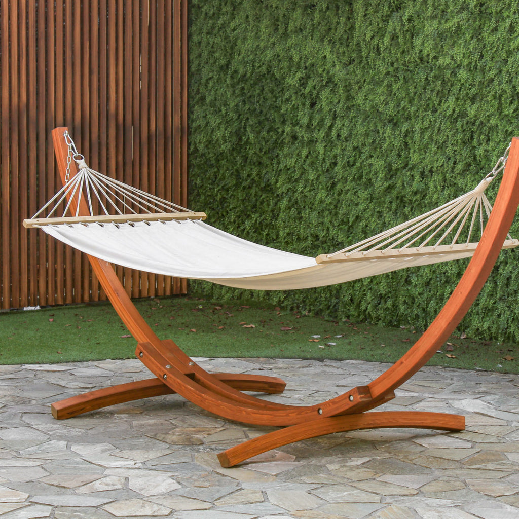 Hammock with wood stand