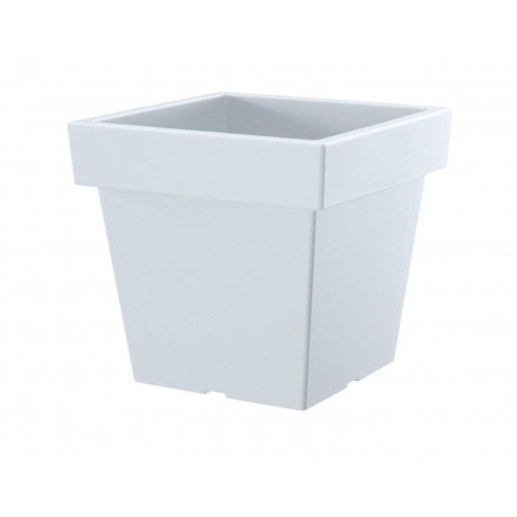 Large Square low Flower Pot - White