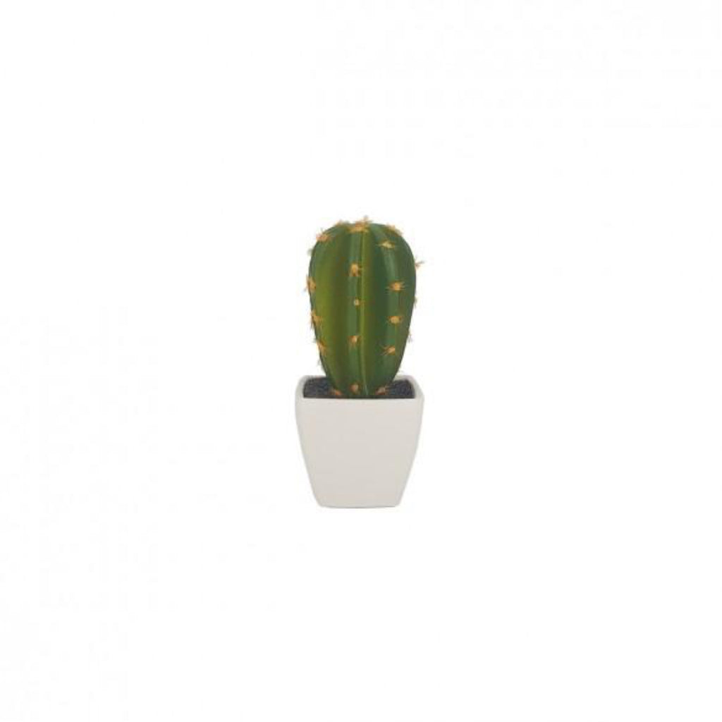 Single Artificial Cactus in White Pots
