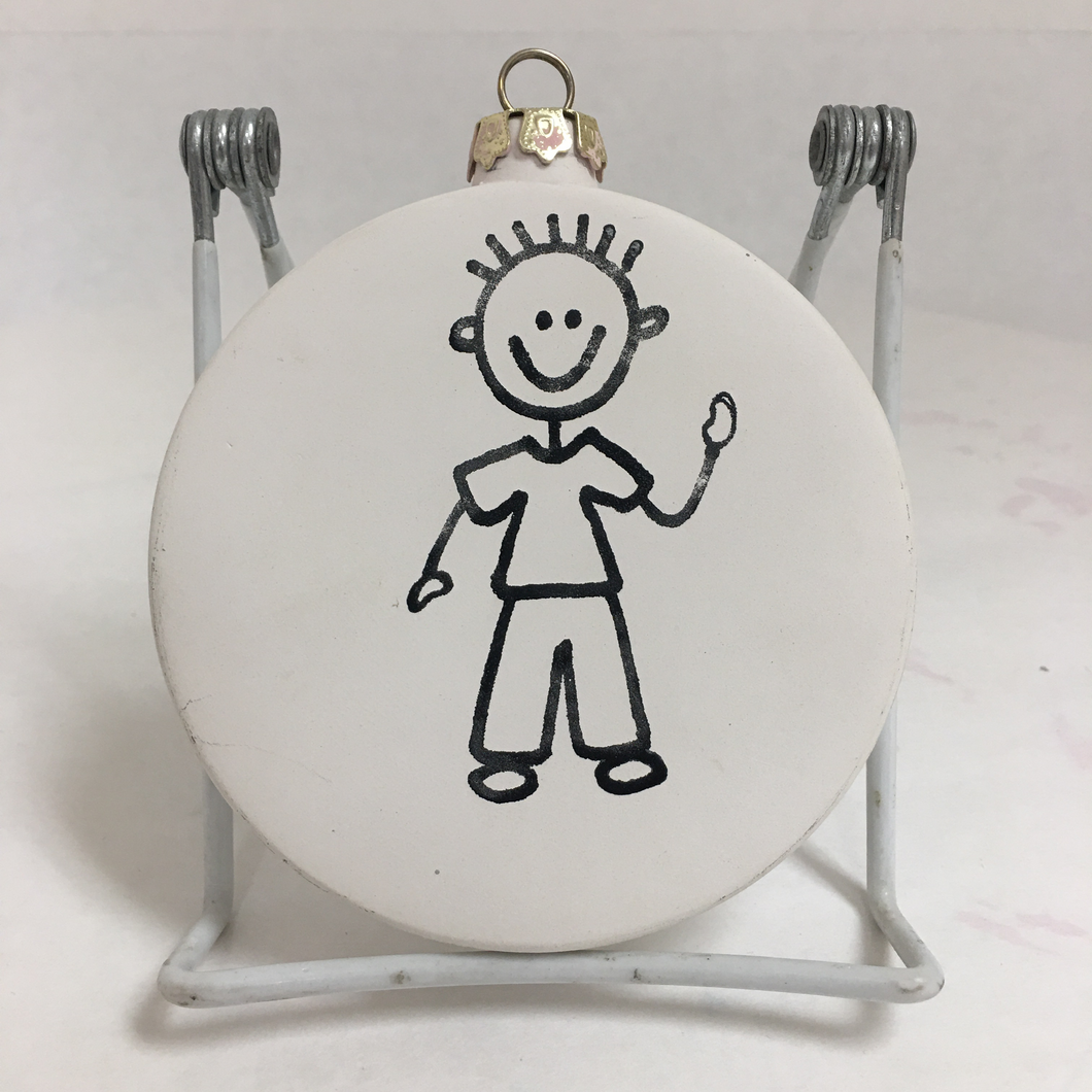 Flat Round Boy Ornament