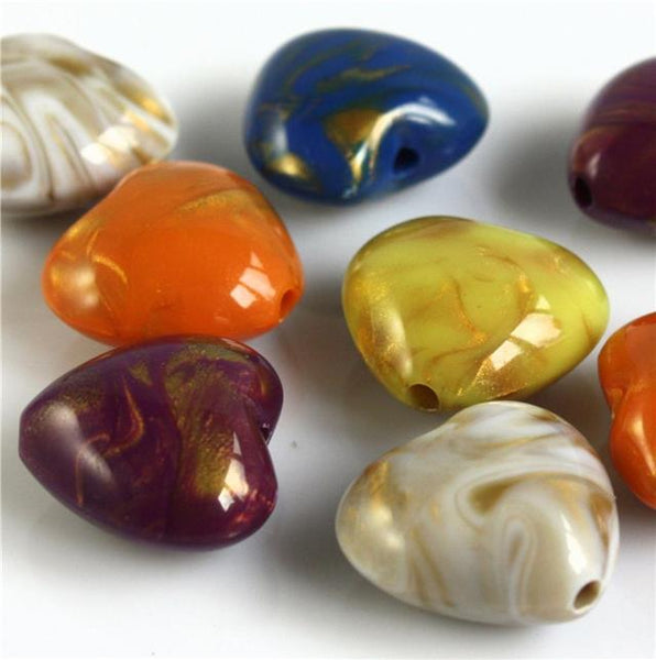 TOP QUALITY LARGE ACRYLIC GOLD MARBLED HEART BEADS 20mm x 18mm COLOUR CHOICE
