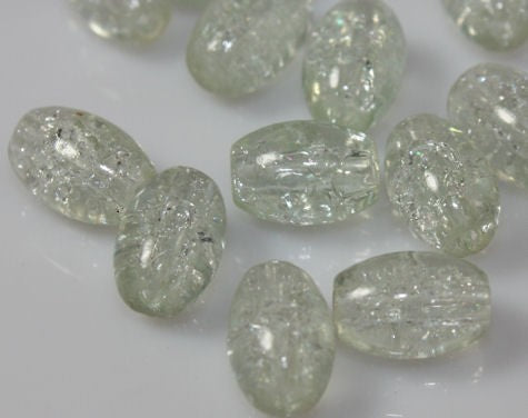 TOP QUALITY OVAL CRACKLE GLASS BEADS 11mm x 8mm 50 PER BAG