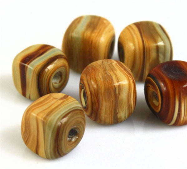 TOP QUALITY LAMPWORK GLASS BEADS MARBLED WOODGRAIN PATTERN SHAPE CHOICE