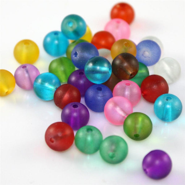 CRYSTAL FROSTED GLASS BEADS ROUND 20 COLOUR CHOICE TOP QUALITY 4mm 6mm 8mm