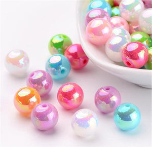 TOP QUALITY 'AB ' PEARL LUSTRE ACRYLIC BEADS 10MM 50 PER BAG ACR24