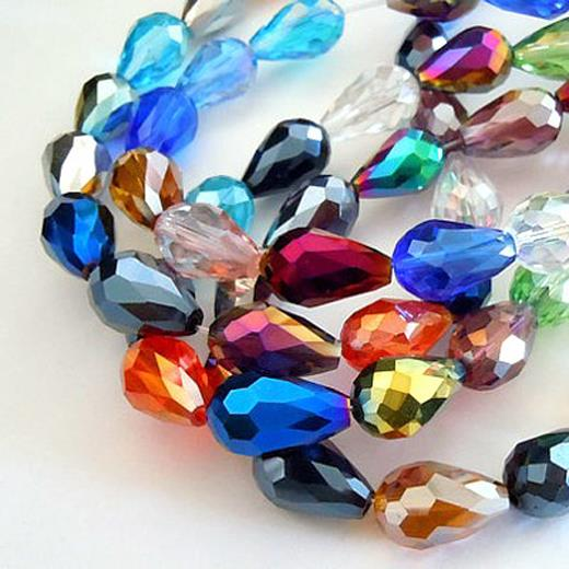 10 x FACETED TEARDROP CRYSTAL GLASS PENDANTS 15mm x 10mm AB PEARL LUSTRE