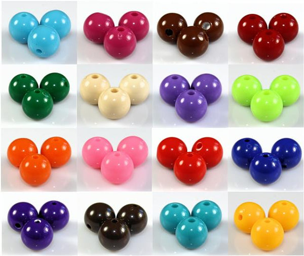 ROUND ACRYLIC BEADS 300x 6mm / 200x 8mm / 100x 10mm 18 COLOUR CHOICE