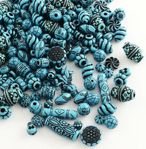 ACRYLIC BEAD MIX CYAN BLACK 8mm -25mm 30gm bag TOP QUALITY ACR130
