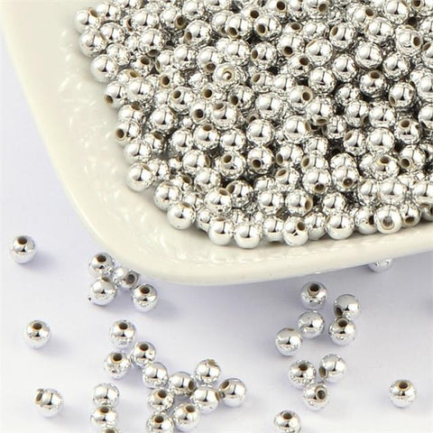 PREMIUM QUALITY SILVER PLATED ACRYLIC SPACER ROUND BEADS 4mm 6mm 8mm 10mm 12mm