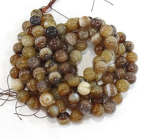 PREMIUM QUALITY AMBER GOLD BANDED AGATE ROUND GEMSTONE BEADS 8mm 25 Beads GS35