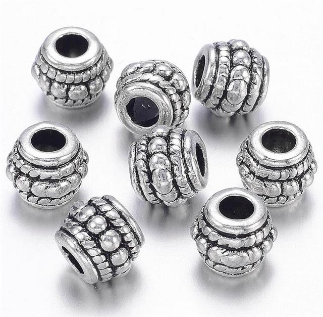 TOP QUALITY 10 TIBETAN SILVER BARREL SPACER BEADS 8mm ( TS27 )
