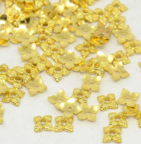100 FLOWER LEAF BEAD CAPS 6mm GOLD TOP QUALITY
