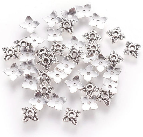 100 FLOWER LEAF BEAD CAPS 6mm TIBETAN SILVER TOP QUALITY