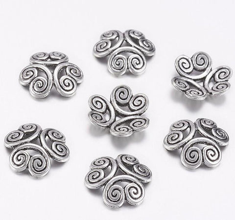 20 SCROLL BEAD CAPS 13mm x 3mm SILVER PLATED TOP QUALITY