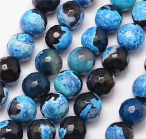 25 PREMIUM QUALITY NATURAL FIRE AGATE FACETED ROUND BEADS BLACK BLUE 8mm GS11