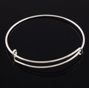 5 EXPANDABLE CHARM BANGLE BRACELETS 70mm SILVER PLATED TOP QUALITY