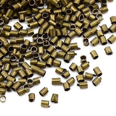 500 ANTIQUE BRONZE 1.5mm TUBE CRIMP BEADS FINDINGS