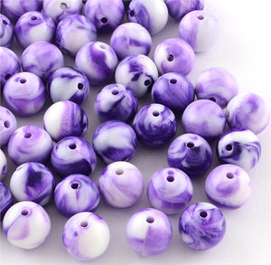 PURPLE & WHITE CANDY SWIRL ROUND ACRYLIC BEADS 8mm 100 Per Bag TOP QUALITY ACR17